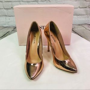 JustFab Rose Gold Patent Joda Pumps IOB Sz 8